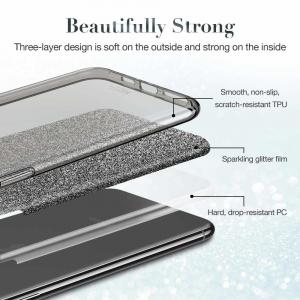 Husa Samsung Galaxy A70 2019 Sclipici TPU Carcasa Spate Negru Glitter2