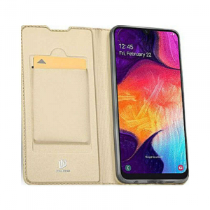 Husa Samsung Galaxy A70 2019 Toc Flip Portofel Auriu Gold Piele Eco DuxDucis [1]