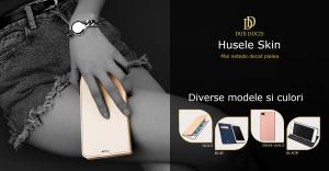 Husa Samsung Galaxy A70 2019 Toc Flip Portofel Roz Piele Eco DuxDucis6