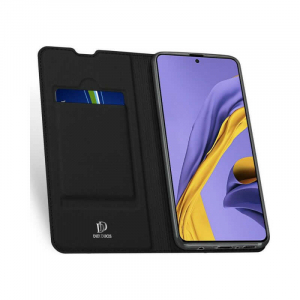 Husa Flip Samsung Galaxy A71 Tip Carte Negru Skin DuxDucis1