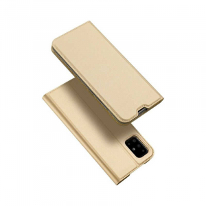Husa Samsung Galaxy A71 2020 Toc Flip Tip Carte Portofel Piele Eco Premium DuxDucis Gold Auriu4