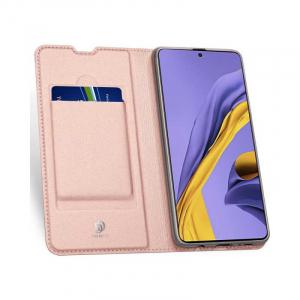 Husa Samsung Galaxy A71 2020 Toc Flip Tip Carte Portofel Piele Eco Premium DuxDucis Roz1