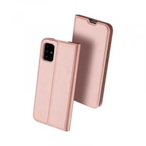 Husa Samsung Galaxy A71 2020 Toc Flip Tip Carte Portofel Piele Eco Premium DuxDucis Roz0