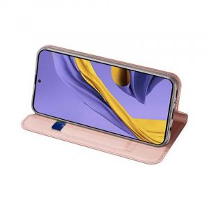 Husa Samsung Galaxy A71 2020 Toc Flip Tip Carte Portofel Piele Eco Premium DuxDucis Roz2