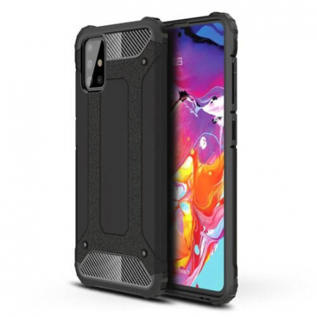 Husa Samsung Galaxy A71 Silicon Antisoc Negru Hybrid Armor