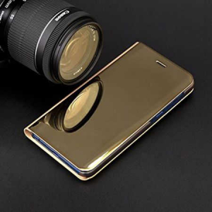 Husa Samsung Galaxy A8 Plus 2018 Clear View Flip Toc Carte Standing Cover Oglinda Auriu (Gold)3