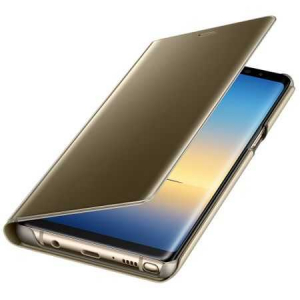 Husa Samsung Galaxy A8 Plus 2018 Clear View Flip Toc Carte Standing Cover Oglinda Auriu (Gold)2