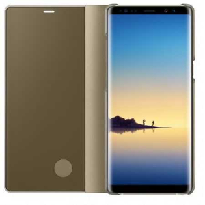 Husa Flip Mirror Samsung Galaxy A8 Plus 2018 Auriu Clear View Oglinda1