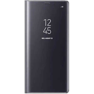 Husa Flip Mirror Samsung Galaxy A8 Plus 2018 Negru Clear View Oglinda0