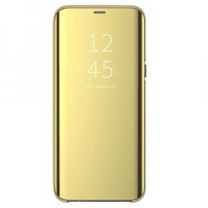 Husa Flip Mirror Samsung Galaxy A90 2019 Auriu Gold Clear View Oglinda0