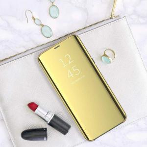 Husa Flip Mirror Samsung Galaxy A90 2019 Auriu Gold Clear View Oglinda5