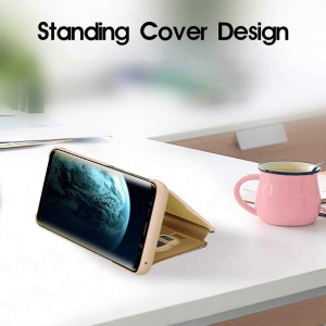 Husa Samsung Galaxy A90 2019 Clear View Flip Standing Cover Oglinda Auriu Gold3