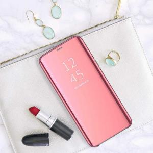 Husa Samsung Galaxy A90 2019 Clear View Flip Standing Cover Oglinda Roz5