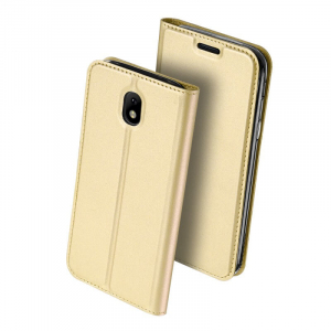 Husa Samsung Galaxy J3 2017 Toc Flip Tip Carte Portofel Auriu Gold Piele Eco Premium DuxDucis [0]