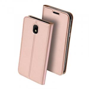 Husa Samsung Galaxy J3 2017 Toc Flip Tip Carte Portofel Roz Piele Eco Premium DuxDucis [0]