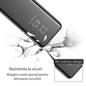 Husa Samsung Galaxy J4 Plus 2018 Clear View Flip Toc Carte Standing Cover Oglinda Negru (Black)2