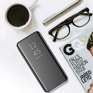 Husa Samsung Galaxy J4 Plus 2018 Clear View Flip Toc Carte Standing Cover Oglinda Negru (Black)4
