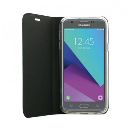Husa Flip Samsung Galaxy J4 Plus 2018 Tip Carte Negru Focus1
