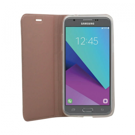 Husa Flip Samsung Galaxy J4 Plus 2018 Tip Carte Roz Focus1