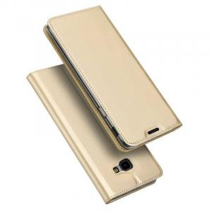 Husa Samsung Galaxy J4 Plus 2018 Toc Flip Portofel Auriu Gold Piele Eco DuxDucis4