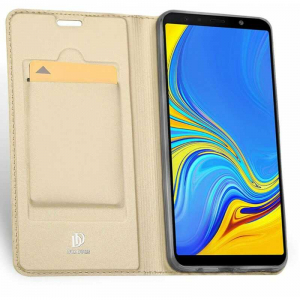 Husa Samsung Galaxy J4 Plus 2018 Toc Flip Portofel Auriu Gold Piele Eco DuxDucis1