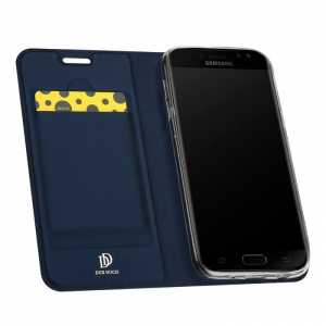 Husa Samsung Galaxy J5 2017 Toc Flip Tip Carte Portofel Bleumarin Piele Eco Premium DuxDucis1