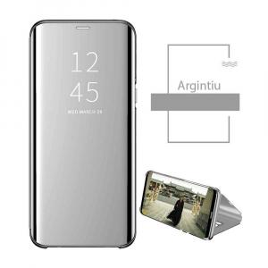 Husa Flip Mirror Samsung Galaxy J6 2018 Argintiu Silver Clear View Oglinda1