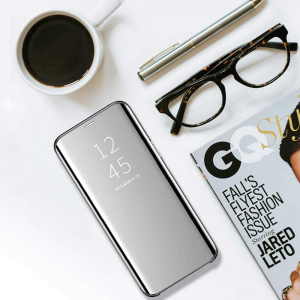 Husa Flip Mirror Samsung Galaxy J6 2018 Argintiu Silver Clear View Oglinda2
