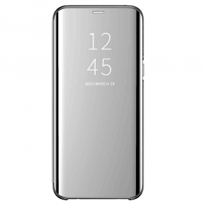 Husa Flip Mirror Samsung Galaxy J6 2018 Argintiu Silver Clear View Oglinda0