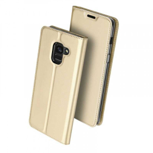 Husa Samsung Galaxy J6 2018 Toc Flip Tip Carte Portofel Auriu Gold Piele Eco Premium DuxDucis0
