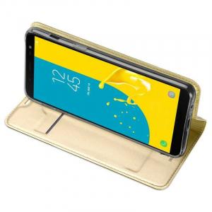 Husa Samsung Galaxy J6 2018 Toc Flip Tip Carte Portofel Auriu Gold Piele Eco Premium DuxDucis2