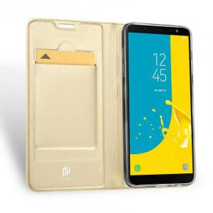 Husa Samsung Galaxy J6 2018 Toc Flip Tip Carte Portofel Auriu Gold Piele Eco Premium DuxDucis1