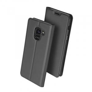 Husa Samsung Galaxy J6 2018 Toc Flip Tip Carte Portofel Negru Piele Eco Premium DuxDucis [0]