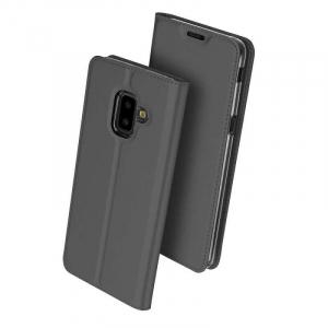 Husa Flip Samsung Galaxy J6 Plus 2018 Tip Carte Negru Skin DuxDucis0