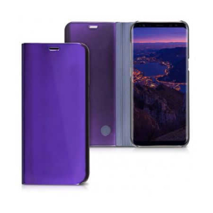 Husa Samsung Galaxy J7 2018 Clear View Flip Toc Carte Standing Cover Oglinda Mov (Purple)0