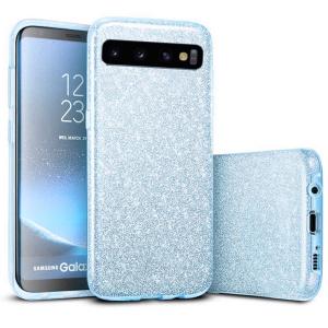 Husa Samsung Galaxy S10 2019 Color Silicon TPU Carcasa Sclipici Albastru0