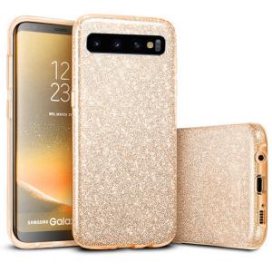 Husa Samsung Galaxy S10 2019 Color Silicon TPU Carcasa Sclipici Auriu Gold0