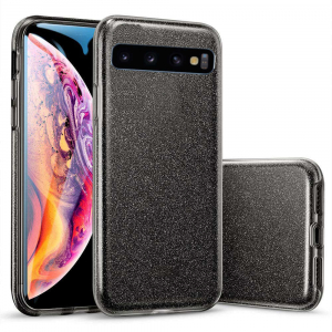 Husa Samsung Galaxy S10 Color Silicon Sclipici Negru0