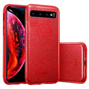 Husa Samsung Galaxy S10 2019 Color Silicon TPU Carcasa Sclipici Rosu0