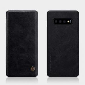 Husa Flip Samsung Galaxy S10 Negru Tip Carte Magnetica Nillkin Qin1