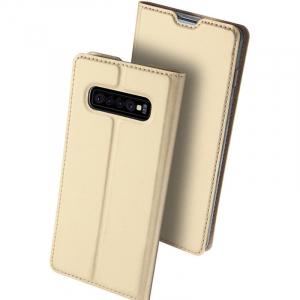 Husa Samsung Galaxy S10 E 2019 Toc Flip Portofel Auriu Piele Eco DuxDucis0