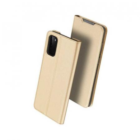 Husa Samsung Galaxy S20 2020 Toc Flip Tip Carte Portofel Auriu Gold Piele Eco DuxDucis [0]