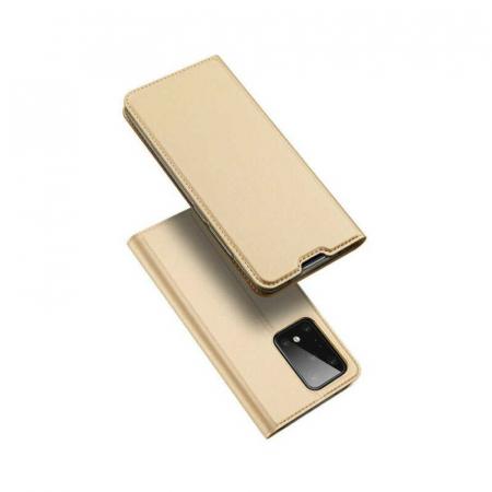 Husa Samsung Galaxy S20 Ultra 2020 Toc Flip Tip Carte Portofel Auriu Gold Piele Eco DuxDucis [4]