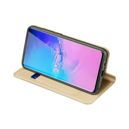 Husa Samsung Galaxy S20 Ultra 2020 Toc Flip Tip Carte Portofel Auriu Gold Piele Eco DuxDucis [2]