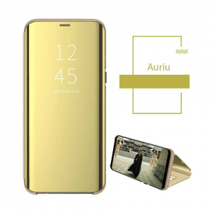 Husa Samsung Galaxy S7 Edge Clear View Flip Toc Carte Standing Cover Oglinda Auriu Gold1