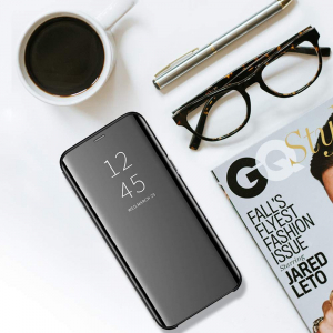 Husa Samsung J3 2018 Clear View Flip Standing Cover (Oglinda) Negru (Black)1