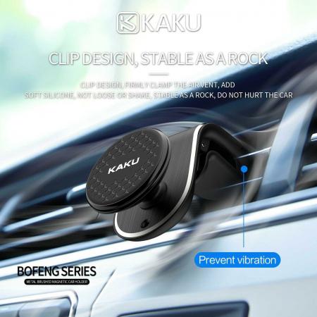 Suport Auto Pentru Grila De Ventilatie Magnetic Kaku Negru0