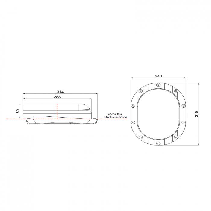 Element aerisire țiglă metalică profil S Roșu RAL 3009 [2]