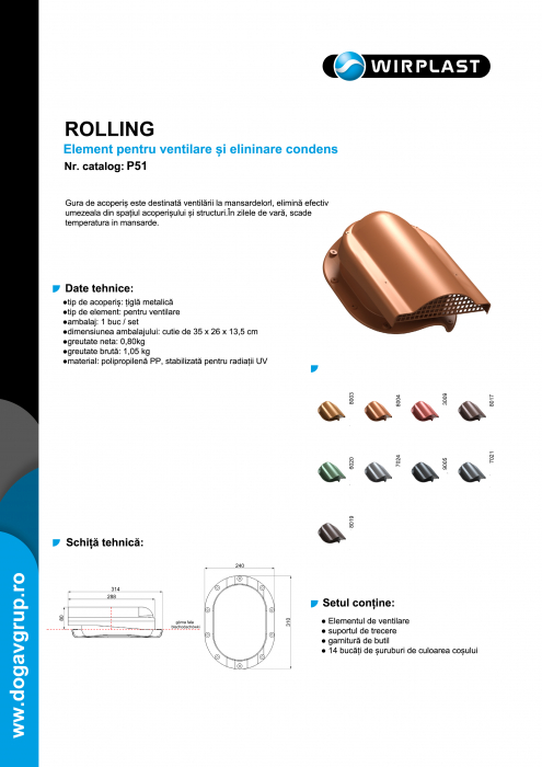 Element aerisire țiglă metalică profil N Maro inchis RAL 8019 [1]