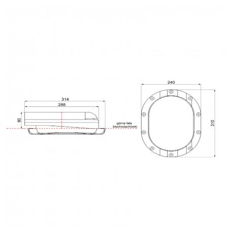 Element aerisire țiglă metalică profil N Roșu RAL 3009 [2]